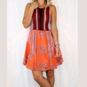 Free People Katie's Crochet Knit Floral Boho Dress
